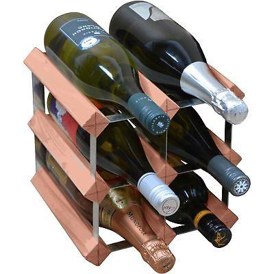 Wine Bottle Rack, 6 Bottle Traditional Wooden Storage - Assembled - Dark Wood Dark Wood Wine Rack