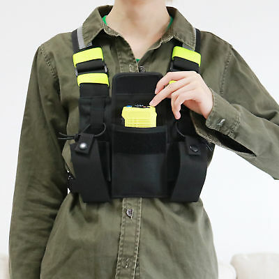Radio Pocket Chest Harness Pack Pouch Holster Vest Rig For Motorola Radio
