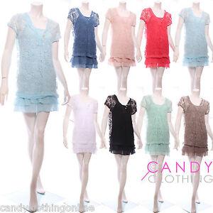 Ladies-Women-Stretch-Baggy-Chiffon-Lace-Top-Vest-Bikini-Long-Tunic-Dress-Blouse