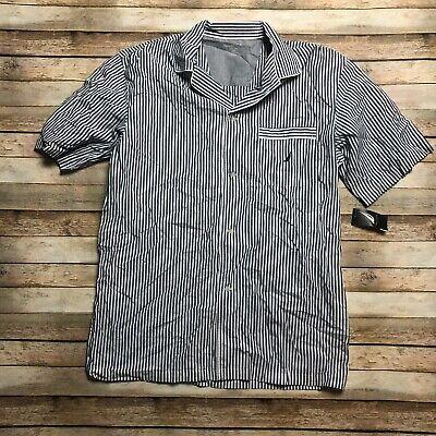 Nautica Mens XL Woven Striped Button Down Pajama Shirt Blue White Sleepwear