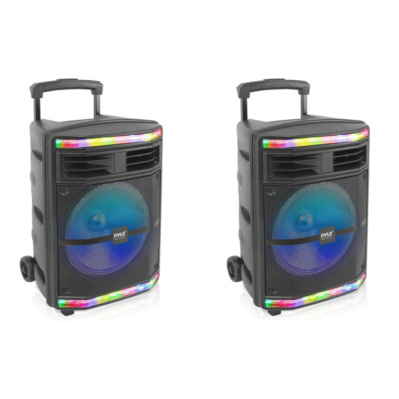 Pyle PPHP1044B Portable Bluetooth Speaker System with Flashing Lights (2 Pack)