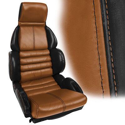 1989-1990 Corvette Leather Sport Seat Covers 2Tone Black w/Cognac Inserts
