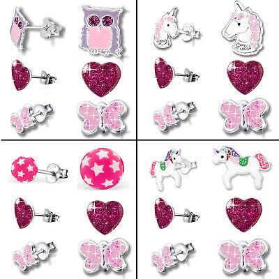 3er Set Ohrstecker Ohrringe für Kinder Mädchen Damen 925 echt Silber Sterling (Ohrringe Für Kinder)