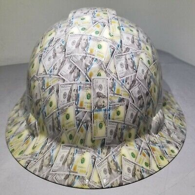 Hard Hat Full Brim Custom Hydro Dipped Osha Big Face Hundred Dollar Bills New