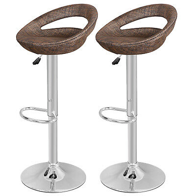 2 pack Wicker Bar Stools Swivel Adjustable Height Outdoor Bistro Home Rattan Pub ()