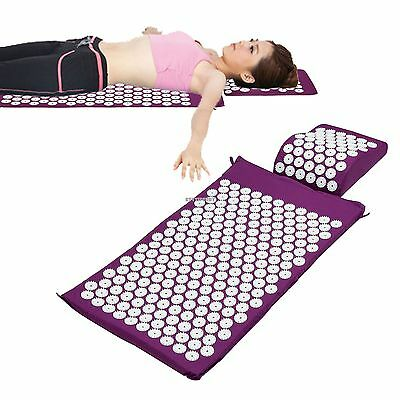 Relieve Stress /Tension/ Pain Yoga Acupressure Mat Pillow Back Massage Cushion