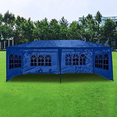 3Mx6M Heavy Duty Gazebo Marquee Canopy w/Sides Waterproof Blue Tent Garden Party