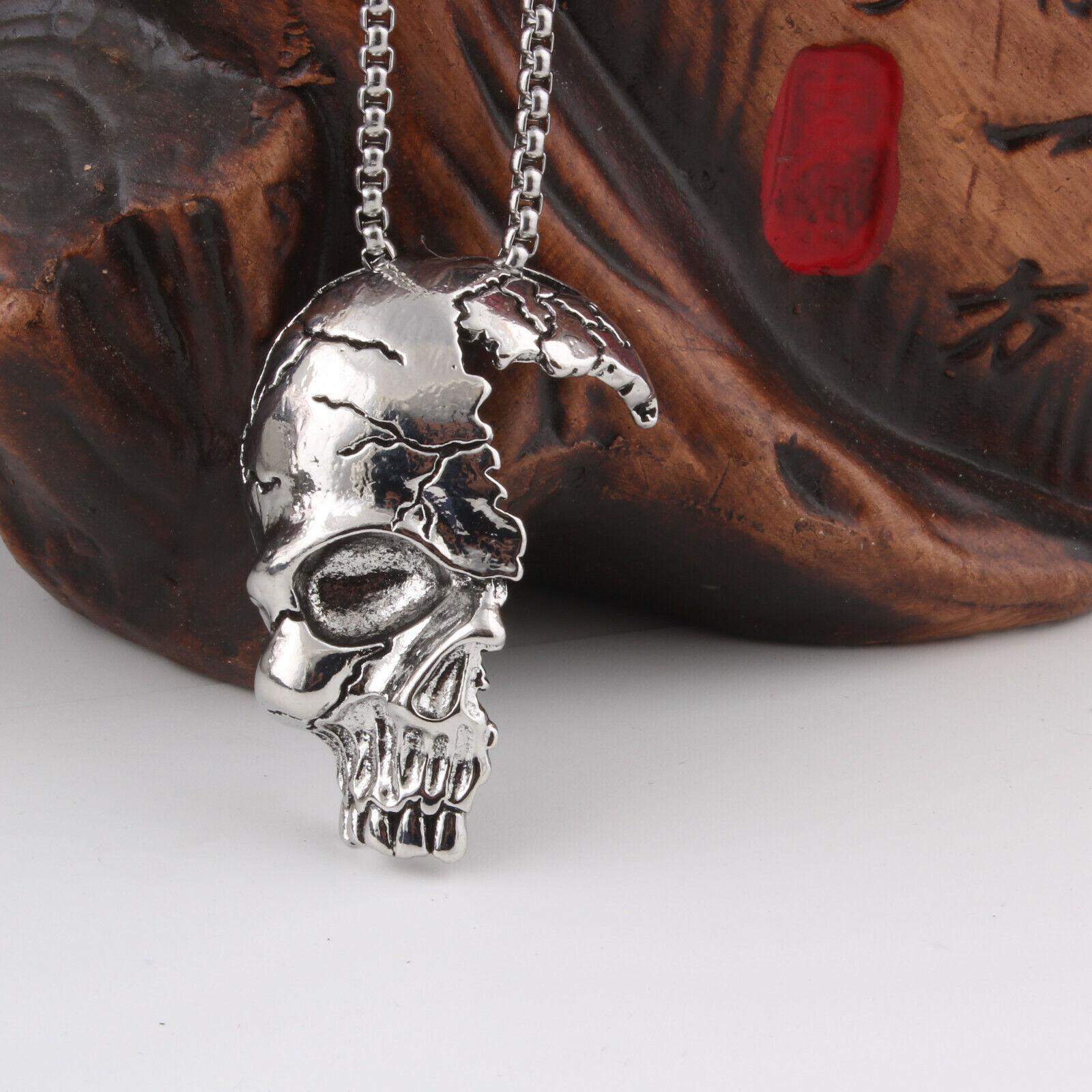 Men Stainless Steel Skull Bottle Prajna Mask Cow Head Wings Pendant Necklace