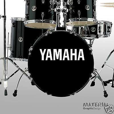 - 2x Yamaha Logo Sticker Decal - fork bass drum Head Drums kit Percussion Skin OG