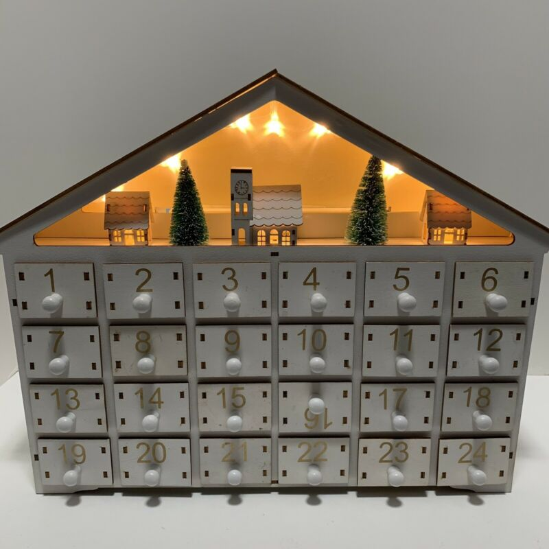 Sunnyglade Wooden Christmas Advent Calendar With LED Light Up Background 24 Day