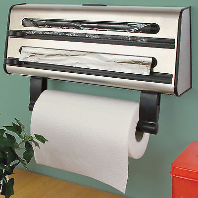 Kitchen Triple Roll Dispenser Cling Film Tin Foil Towel Holder Rack Wall Mounted