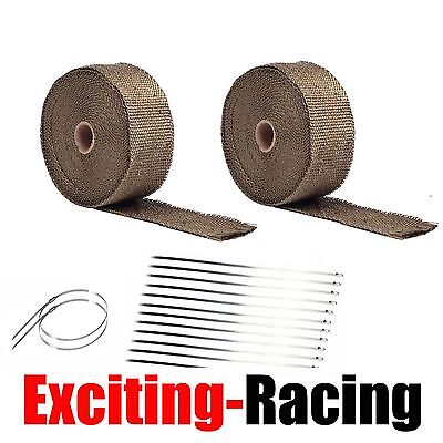 "2 Roll x 2"" Titanium 50FT Exhaust Header Fiberglass Heat Wrap Tape + 20 Ties Kit"