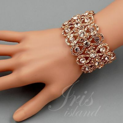 ROSE GOLD Plated Peach Crystal Rhinestone Wedding Bangle Cuff Stretch Bracelet 9 - Gold Bangle