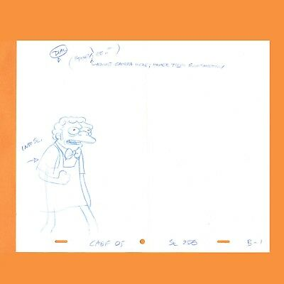Moe Szyslak (THE SIMPSONS  MOE SZYSLAK Production Animation Cel Drawing ORIGINAL w/)