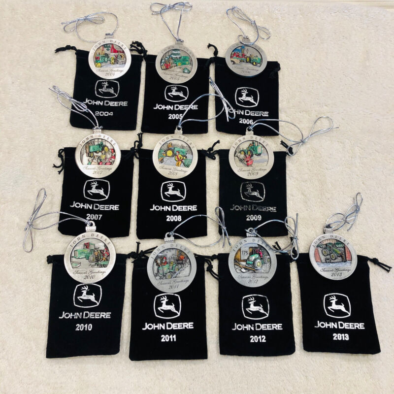 John Deere Pewter Christmas Ornaments W/Pouches!10 From2004 to 2013. New In Bag.