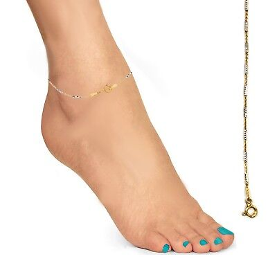 14K Gold Over Sterling Silver Two-tone Mini Diamond-cut bar Cable Chain Anklet (Gold Anklet Diamond Cut Cable)