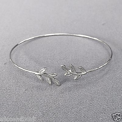 Silver Finish Leaf Design Simple Open Bohemian Style Inspired Bangle Bracelet