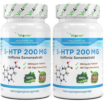 2x 5-HTP = 360 Tabletten 200mg Vegan Griffonia Samen Extrakt Schlaf