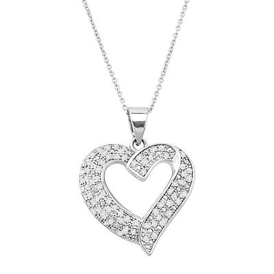 1/2 ct Diamond Heart Pendant in Sterling Silver, 18