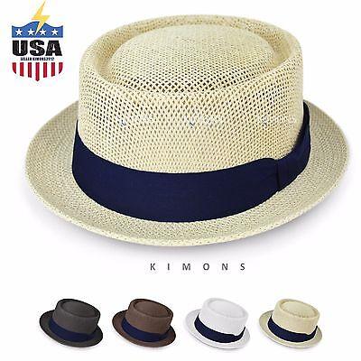 Cuban Hat (Porkpie Straw Fedora Hat Trilby Cuban Cap Summer Beach Sun Panama Short Brim)