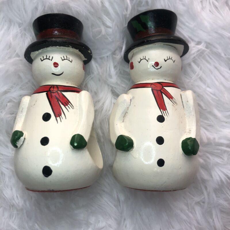 Vintage Mid Century Snowman Christmas Napkin Ring Holders