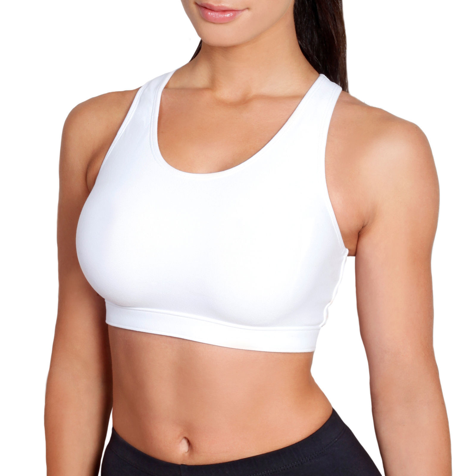 8835906a64 Details about Sportjock Sports Bra S   L Womens Super Compression Crop Tops  For Ladies Running