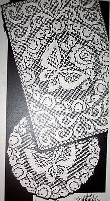 - 829 Vintage Filet BUTTERFLY ROSE Doilies Pattern to Crochet (Reproduction)