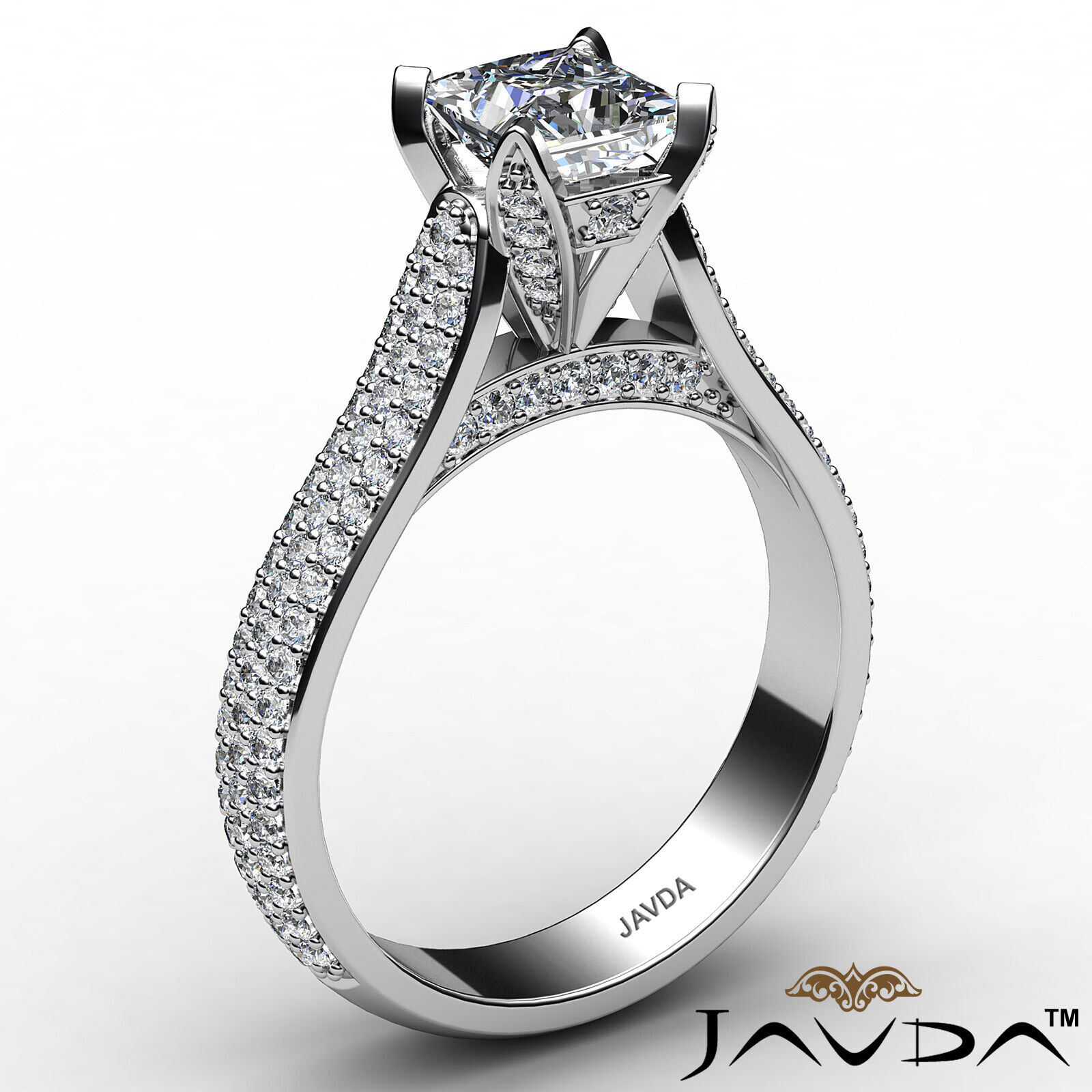 Princess Diamond Engagement Micro Pave Ring GIA E Color & SI1 clarity 1.95 ctw 3