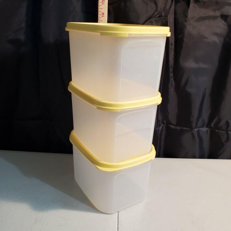 Set of 3 Tupperware Modular Mates Mini Rectangle yellow Seal #2 8 cups each