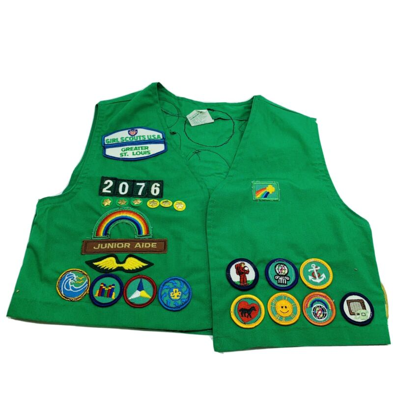Vintage 1980s Girl Scout Vest Loaded with Badges Patches Pins Stars Size 14