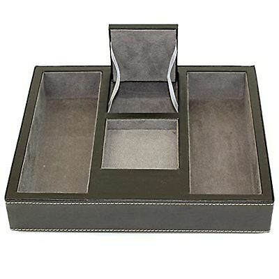 Tech Swiss TSA4177 Valet Tray Leather Desk/Dresser Organizer Grey Suede (Leather Office Dresser)