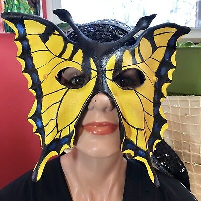 Unique Masquerade Masks (Handmade Leather Fairy Fest Masquerade Monarch Butterfly Eye Mask Cosplay)