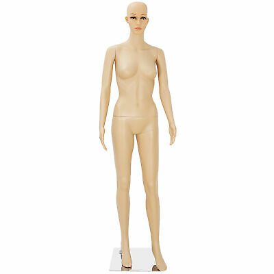Plastic Realistic Female Mannequin Display Clothes Head Turns Dress Form W Base