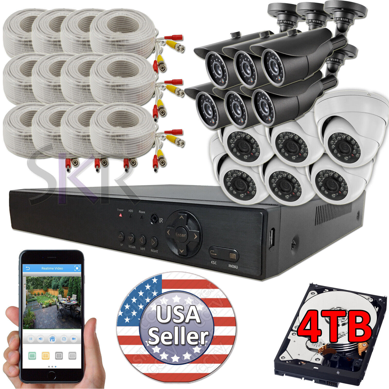 Sikker 16 Channel DVR 12 pcs 1080P Day Night vision Camera S