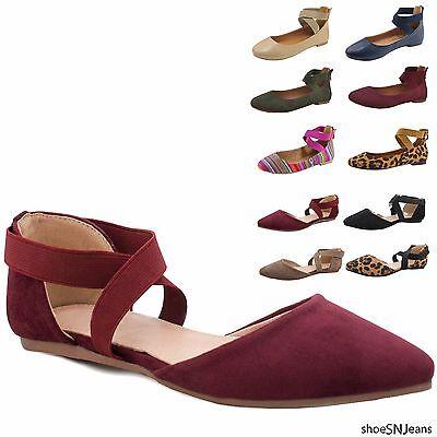 买便宜的new women fashion casual elastic cross ankle strap ballet slip flat shoes