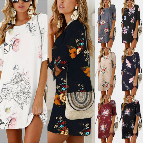 Übergröße Damen Blumen Kleid Sommer Strand Tunika Hemdkleid Longshirt Bluse DE