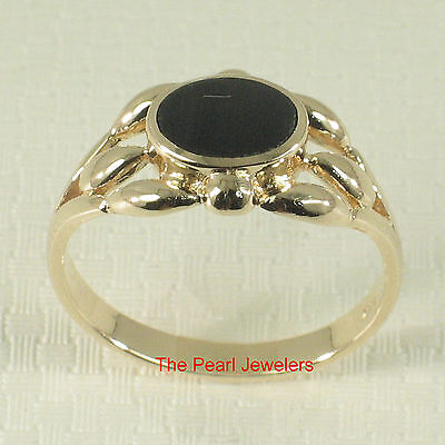 14k Yellow Solid Gold Ring Genuine Black Onyx Set Flush with Ring's Surface TPJ