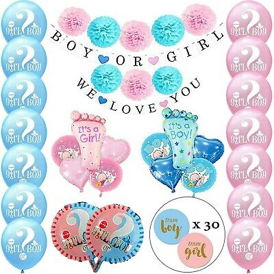 Gender Reveal Party Decorations Set Baby Boy&Girl Balloons Banners Stickers Poms