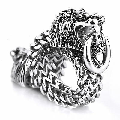 MENDINO Men's Stainless Steel Bracelet Double Lion Head Franco Cuban Chain 8.5""