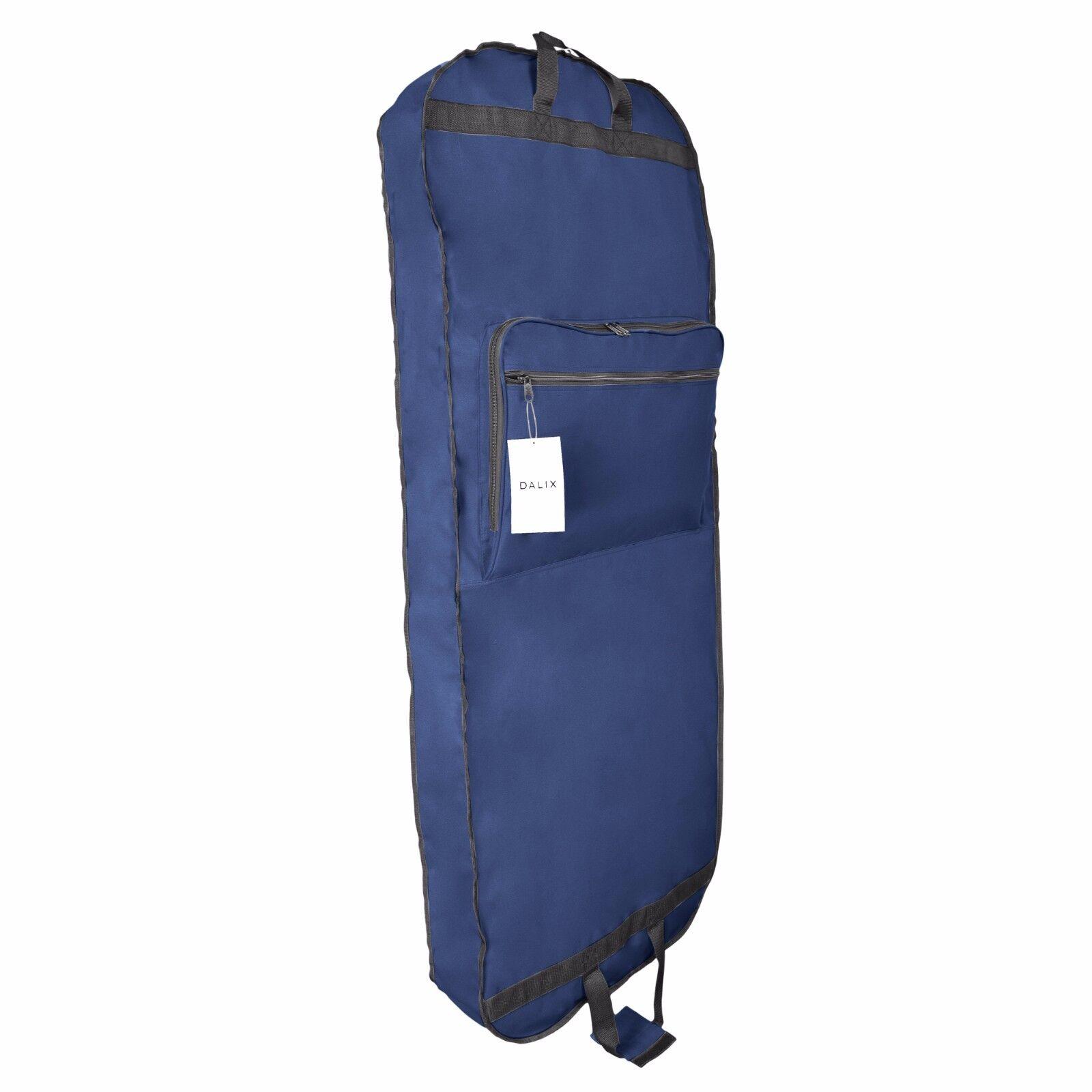 DALIX 60″ Professional Garment Bag Cover Suits Pants Gowns Dresses Foldable Blue Luggage