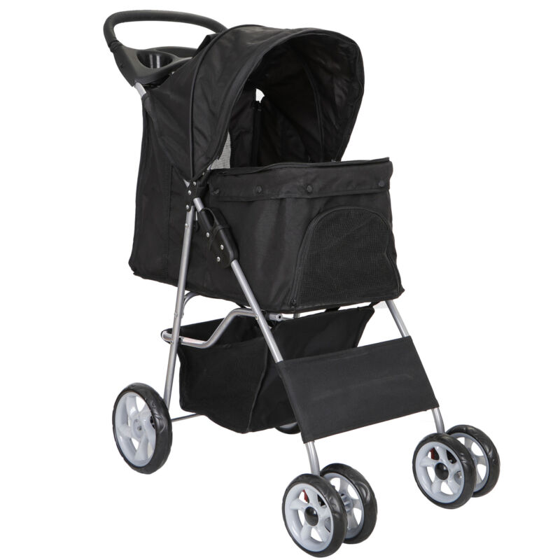 Dog Stroller Pet Travel Carriage Safe 4 Wheeler Heavy Duty with Carrier Cart