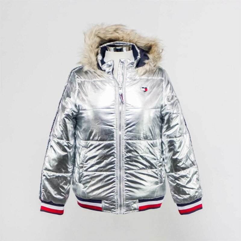 NWT Tommy Hilfiger Girls Quilted Puffer Jacket in Taping Metallic Silver - XL