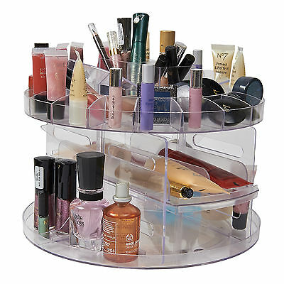 NEW VERSATILE ROTATING  GLAM BEAUTY CADDY COSMETIC ORGANIZER MAKE UP BOX HOLDER