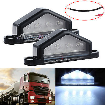 2X4LED 12V LICENSE NUMBER PLATE LIGHT TAIL REAR CAR TRUCK TRAILER LORRY VAN LAMP