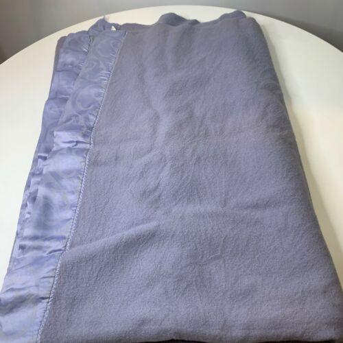 vintage wool thermal blanket bedding purple satin trim twin 64x82 fieldcrest