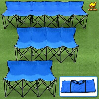 Folding Portable Team Sports Sideline Bench 3/ 4/ 6 Seater Chair 600D Fabric