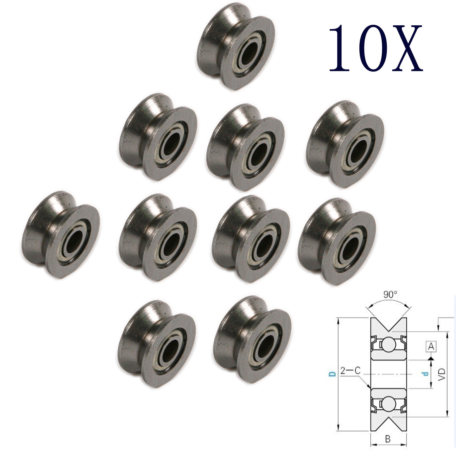 10pcs V-Groved Wire Guide Pulley Wheel 4mm High Carbon Steel Cable ...
