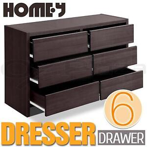 Dresser Chest of 6 Six Drawers Lowboy Cabinet Bedroom Storage Furniture Walnut