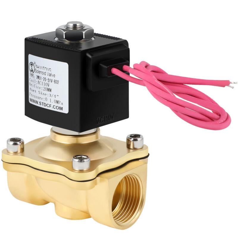 Electric Brass Solenoid Valve 3/4 Inch 110V Valt AC Air Water Gas VITON N/C