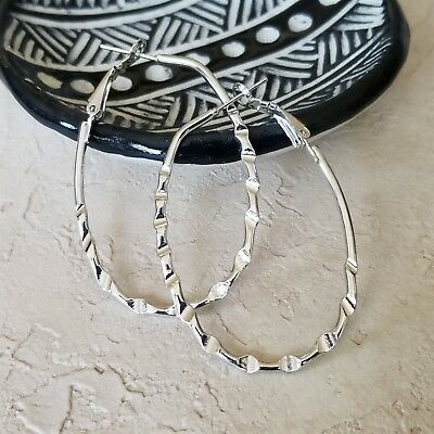(Oval Bamboo Pattern Silver Tone Large Hoop Earrings 50mm 2